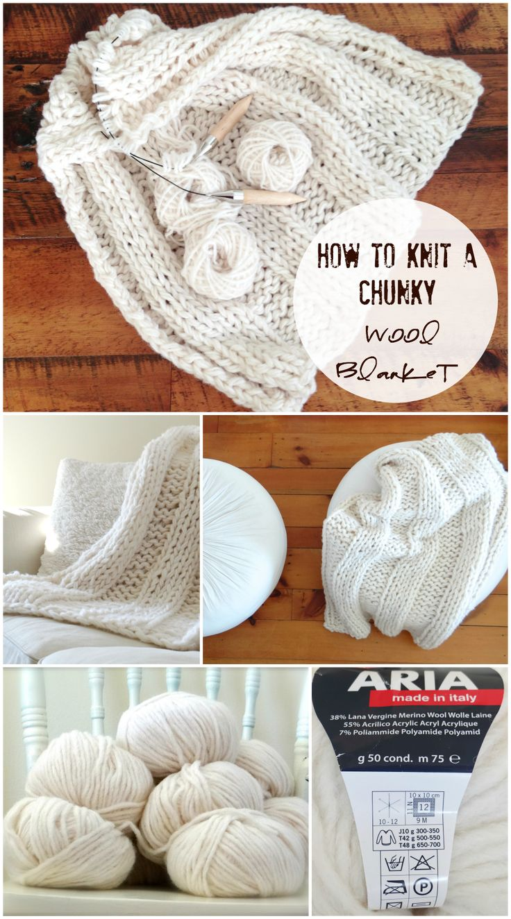 How to knit a chunky wool blanket. Free pattern (beginner) http://www.lynneknowlton.com/wool-blanket-pattern/