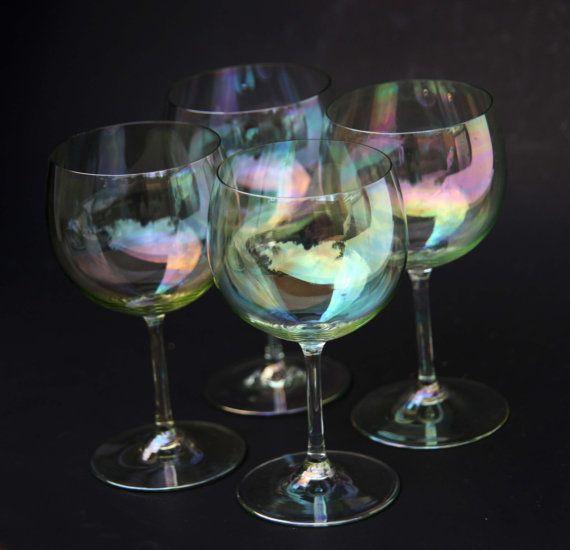 RARE Dorathy Thorpe Mid Century Bubble Clear Iredescent Wine Glasses Vintage Barware Set Vintage 60s