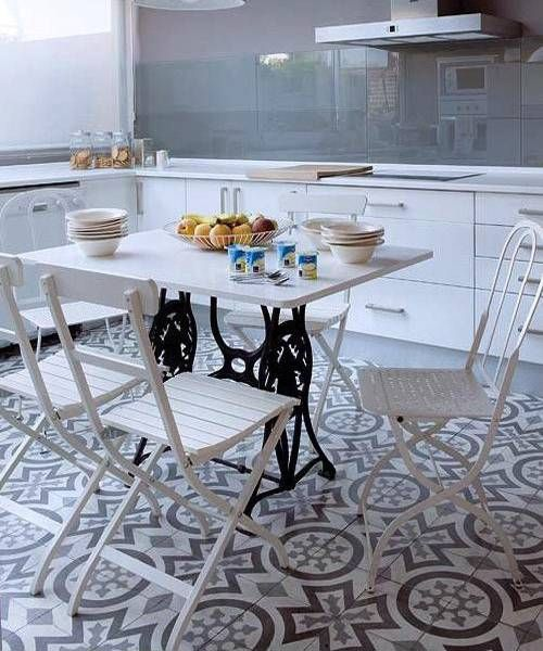 modern tables with cast iron bases in vintage style
