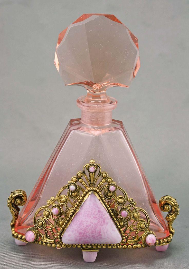 1930's Czech Art Deco Jeweled Perfume Bottle