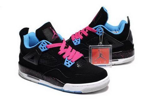 huge selection of eb355 c2ffd Air Jordan Retro 4 Kids Shoes Black Pink 28-35 Greece