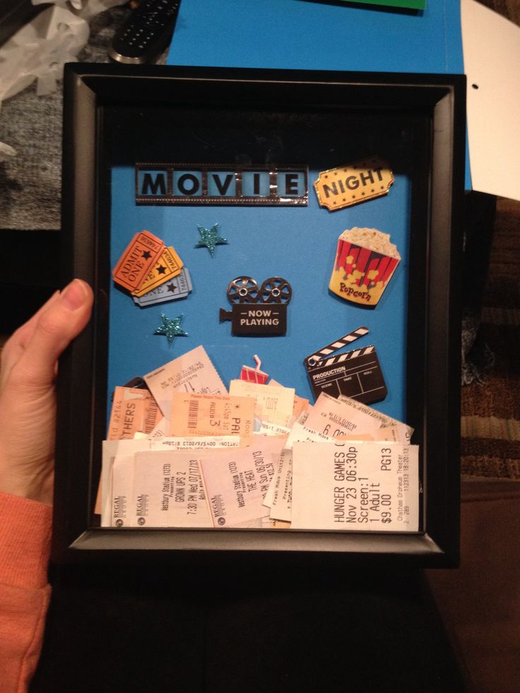Movie Stub Shadow Box -- I got buy one get one free shadow boxes at Michaels and then found some scrapbook embellishments to decorate the backdrop.