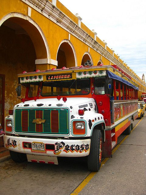 Cartagena, Colombia Chiva bus where you can party and enjoy the city :) #chivabus #partybus #cartagenanight #centrocatalinaactivity