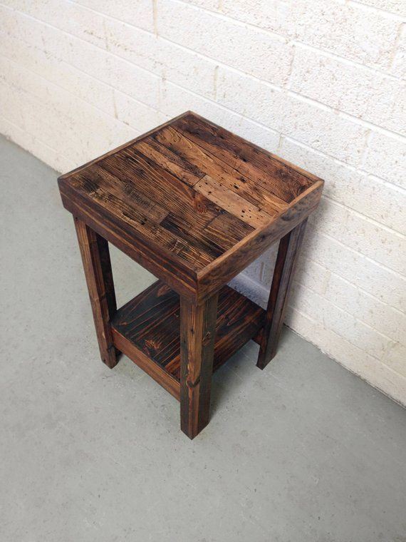 Reclaimed Wood Side Table In Provincial Nightstand End Accent