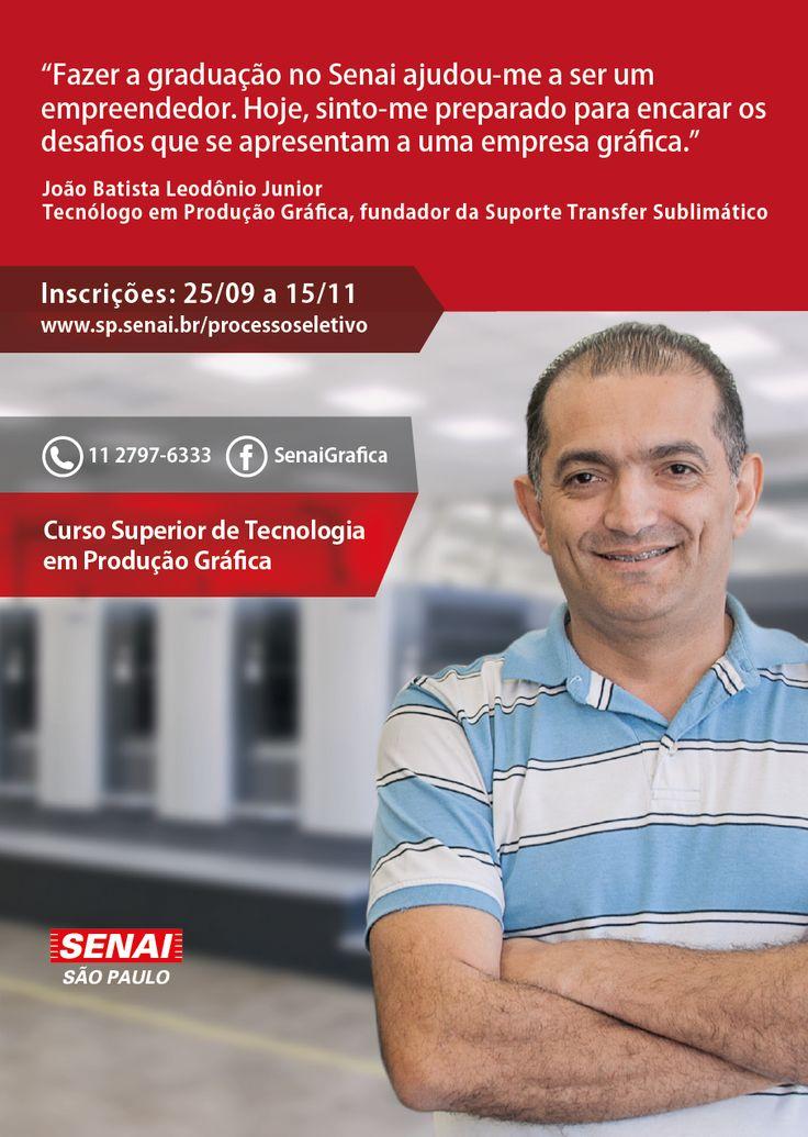 CURSO SUPERIOR DE TECNOLOGIA EM PRODUÇÃO GRÁFICA (SENAI-SP). Inscrições abertas. http://www.sp.senai.br/processoseletivo  #SenaiSP #Produçãográfica #Cursosuperior