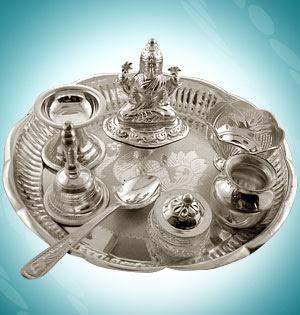 Awesome Silver Diwali Puja Thali, Silver Diwali Pooja Thalis, Silver Pooja Thali ~ Diwali Celebrations 2012