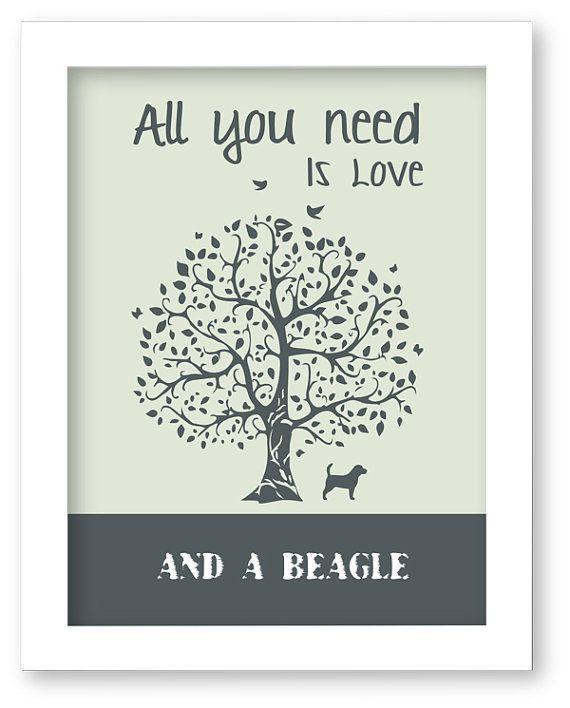 Beagle Art Print, All You Need Is Love And A Beagle, Tree, Modern Wall Decor, Beagle Lovers Gift #Beagle