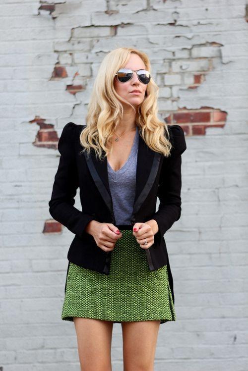 black blazer/green mini
