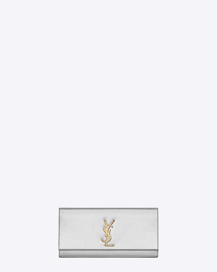Saint Laurent Classic Monogram Saint Laurent Clutch In Silver ...