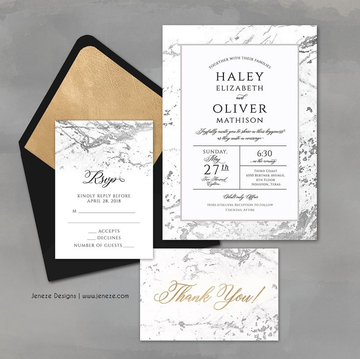 49 best jeneze designs wedding invitations images on pinterest modern marble wedding invitations silver marble design with custom champagne envelope liner find it stopboris Images