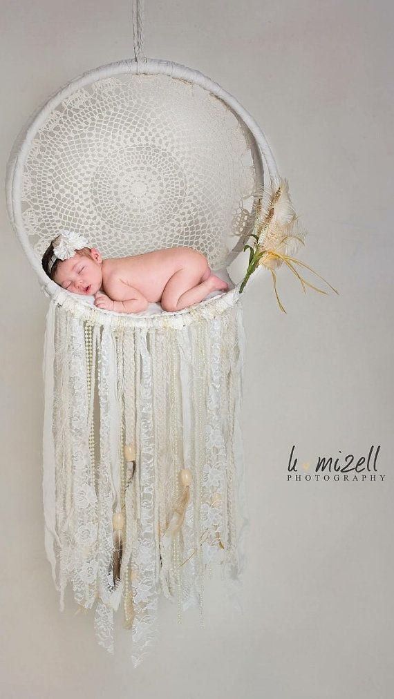 Lace Dream Catcher  Newborn Photo Photography Prop by GypsieStitch