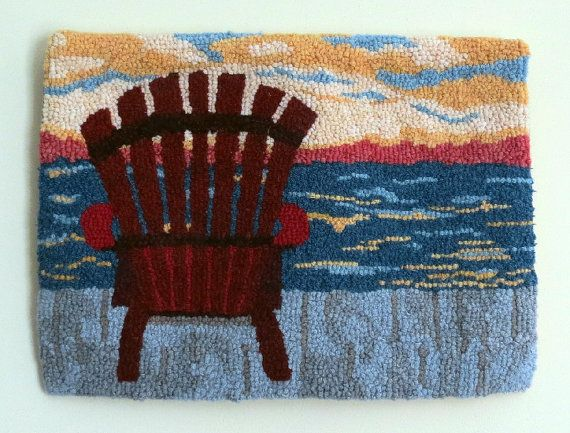 Hooked Rug Early Morning Sunrise Hand Hooked by GardenGateDesign
