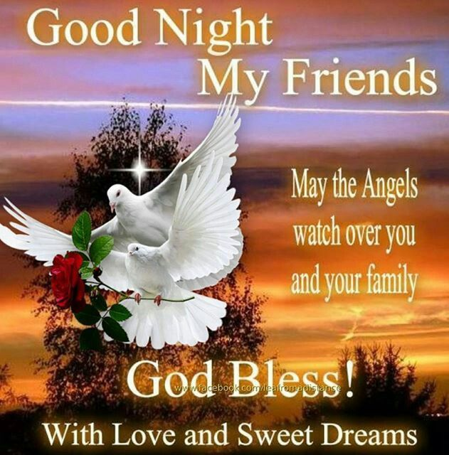 Good Night Images For Friends With Quotes: Wishing U A Peaceful Night In Our Lord Jesus, God Bless
