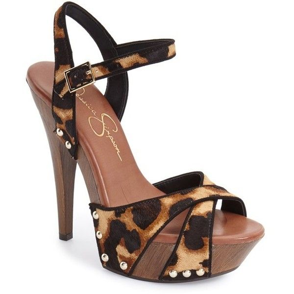 """Jessica Simpson 'Faraday' Platform Sandal, 5"""" heel ($98) ❤ liked on Polyvore featuring shoes, sandals, leopard calf hair, ankle strap sandals, leopard print sandals, leopard platform sandals, studded sandals and ankle tie sandals"""