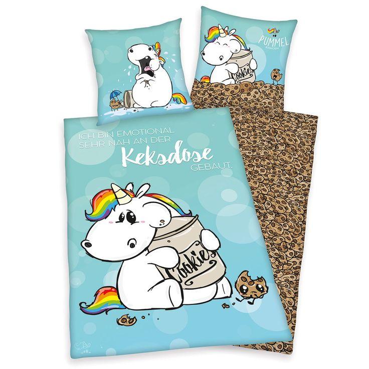 Bettwäsche Pummeleinhorn aus reiner Baumwolle mit Reißverschluss. Das Pummeleinhorn liebt Kekse. Unzählige Cookies zieren die Rückseite der tollen Garnitur mit dem lustigen Einhorn. Ein prima Geschenk für Kids und Teenies. #bettwäsche #bedding #einhorn #unicorn cookie #kekse #essen #geschenk #gift www.bettwaren-shop.de