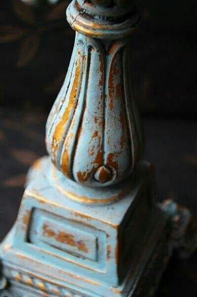 ASCP Duck Egg over brass candlestick