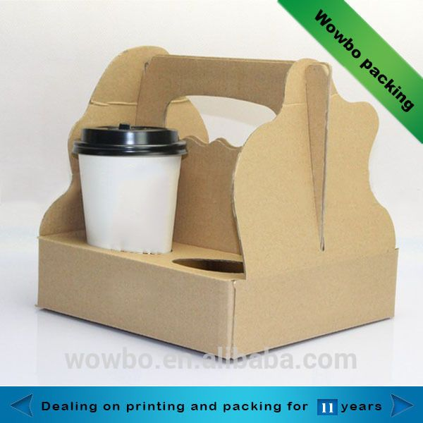 hot sale corrugated 4 pack coffee carrier cup holder
