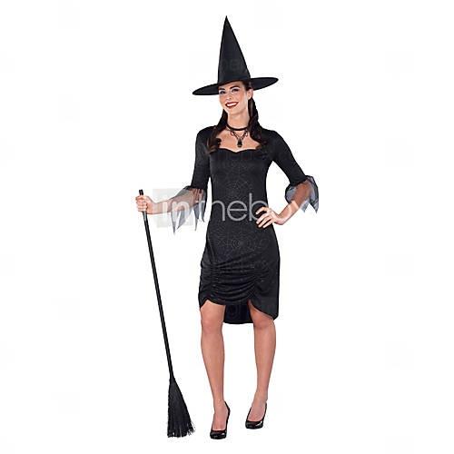Взрослые женские классические ведьмы черное платье Волшебница Костюм Колдовство Hallowen