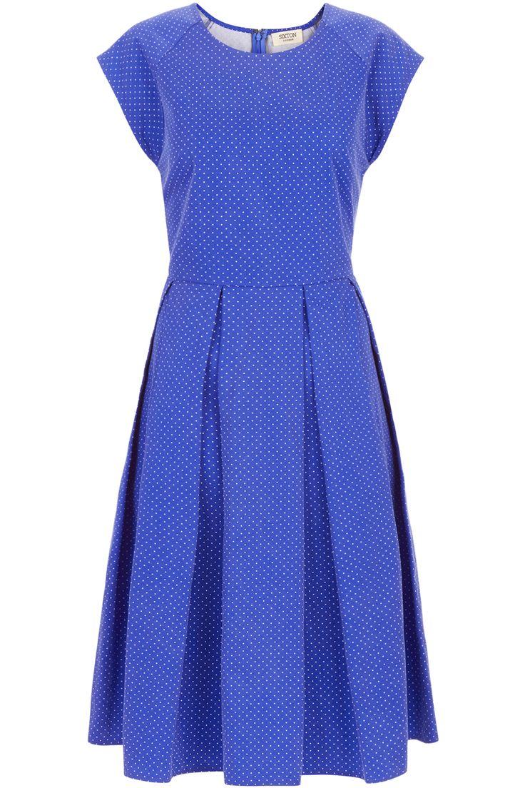 Φόρεμα βαμβακερό με μικρά λευκά πουά σε στυλ ρετρό | Sixton London | Phillyshop.gr