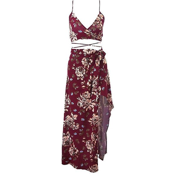 Burgundy Floral Skirt Co-Ord Set Lookbook Store ($31) ❤ liked on Polyvore featuring tops, flower print top, purple top, burgundy top, floral top and floral print top