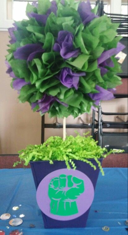Hulk center piece for superhero themed birthday party!