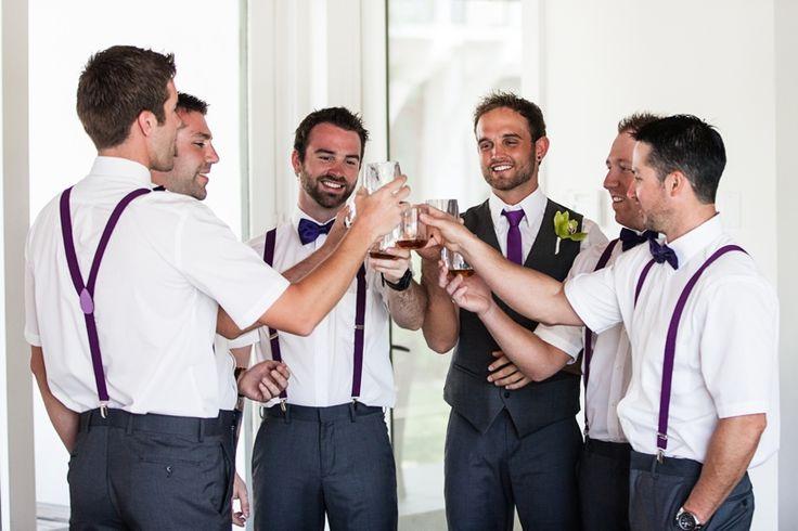 It's a Shore Thing Wedding Planning | VUE Photography   Purple & gray groomsmen in suspenders #wedding