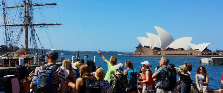 Sydney Sights Free Walking Tour Group across the harbour from the Sydney Opera House.