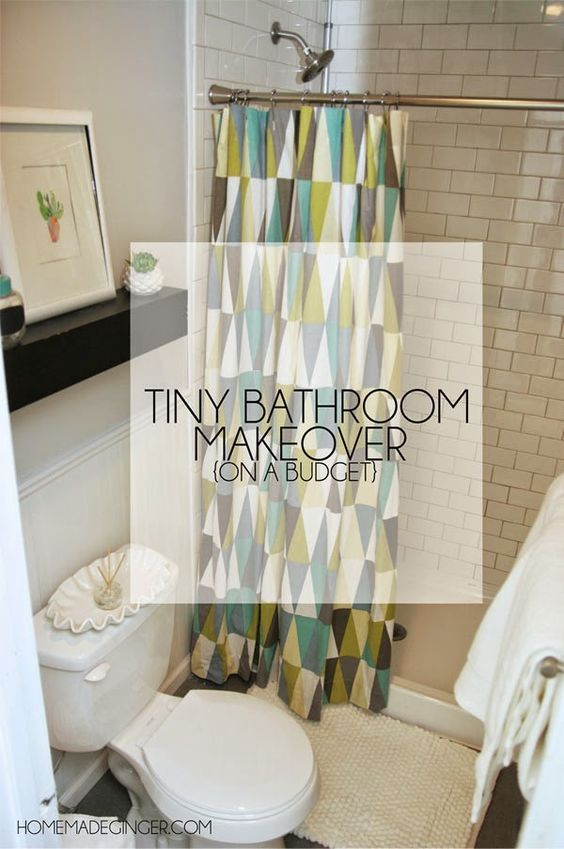 Tiny Bathroom Makeover On A Budget: Learn money saving and space saving tips and tricks for remodeling a tiny bathroom!