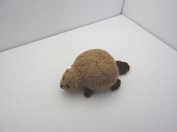 Hand knitted Beaver Pin Cushion Critter, Desk Toy #OOAK