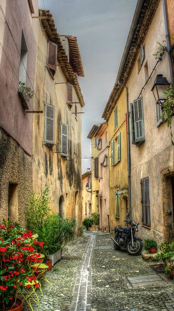 A Typical Street in the Old Town of Biot, Provence, France