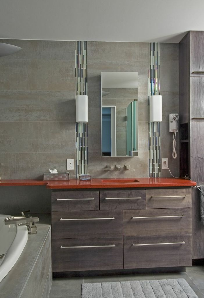 Website Photo Gallery Examples Great use of small amount of tile for accent Washington bathroom remodel This shot includes the bright red countertop grey custom cabinets and stainless