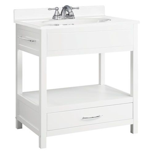 Design House Concord 30 Inch White Gloss Console Vanity Without Top Vanities
