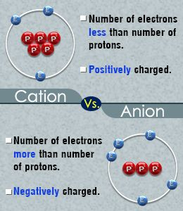 Difference between a cation and an anion