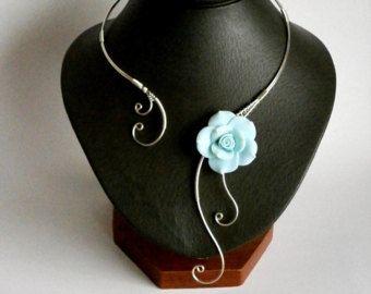Articles similaires à Collier turquoise, Bijoux turquoise, collier, bijoux de mariage - collier en Aluminium - collier demoiselle d'honneur - col ouvert sur Etsy