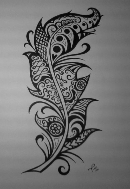 like this, reminds me of the doodles i used to do, kind of want some sort of doodle tattoo, not a feather tho, too popular.