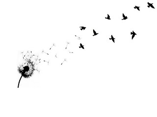 Dandelion with birds! I want this on my hip then go up my side around toward my back! So pretty.