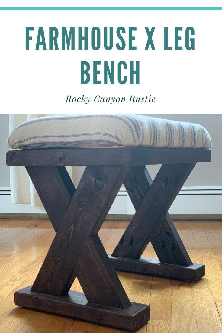 Farmhouse X Leg Bench Farmhouse Bench Diy Diy Furniture Diy Bench