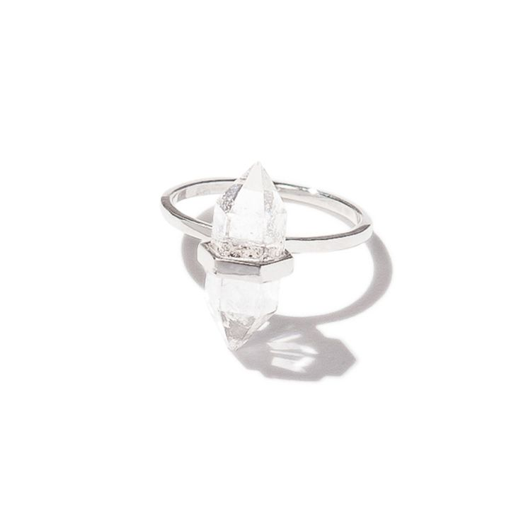 Paradise Quartz ring - silver | $59. Fine ring crafted in .925 sterling silver with small double-pointed clear quartz crystal stone detail. Shop now: http://www.savethelastpinker.com.au/shop/paradise-quartz-ring-silver/