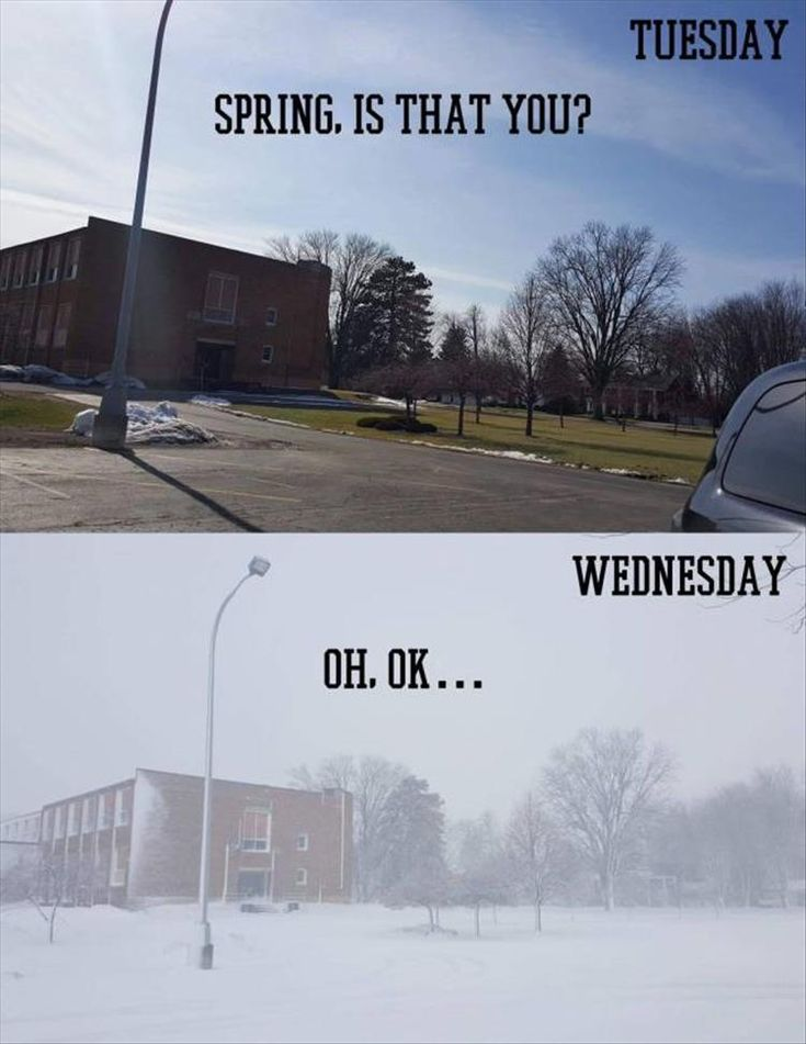 This is legit how things are currently happening in parts of Canada. But sometimes it's within one day. Like in the morning it's georgous, them BAM!!! snow storm. like Mother Nature could you not? it's April this needs to stop. Funny Pictures Of The Day - 44 Pics