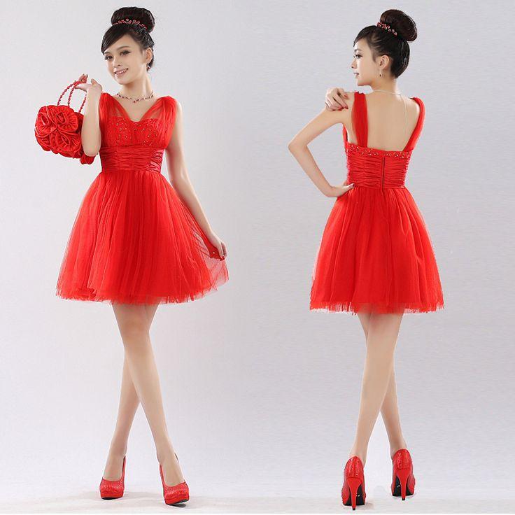 vestidos noche para boda cortos Rojo de la boda vestido de