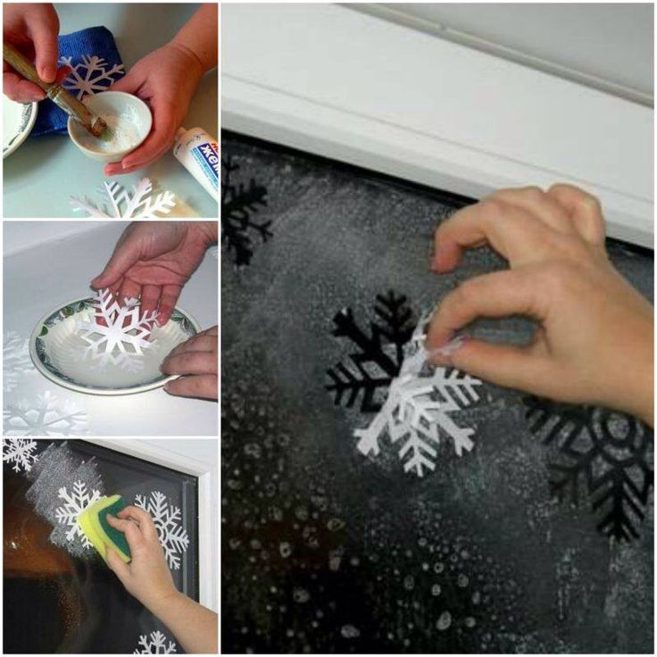 Make your own winter window wonderland!  White toothpaste, deep dish, shallow dish, sponge, spray bottle, paper snowflakes, water  Mix toothpaste and water in deep dish to a thick paste.   Add small amount of water to shallow bowl-dip snowflakes in water stick to window  Spray window with water in spray bottle   Dip sponge in paste dab on window around snowflakes  Let dry, peel off