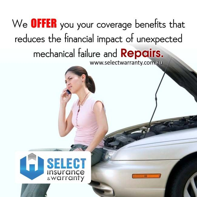 At www.selectwarranty.com.au we offer you your coverage benefits that reduces the financial impact of unexpected mechanical failure and repairs.