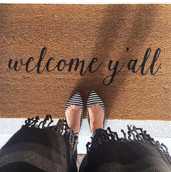 Welcome Y'all Doormat, Door Mat, Hand Painted, Large, Coir Fiber, Gift // WM23B