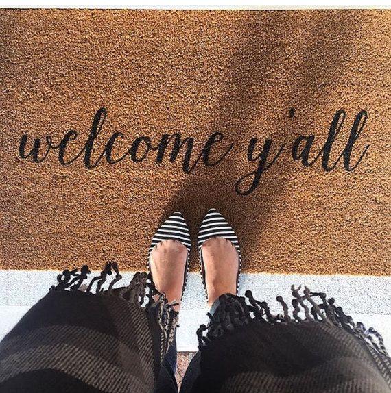Welcome Y'all Doormat, Door Mat, Hand Painted, Large, Coir Fiber, Gift // WM23B