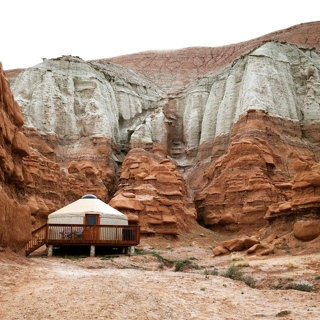 The yurt in Goblin Valley comes with a full grill, bunk beds, heating and electric power. Sigh of relief because we managed to choose the one day a year it rains here.