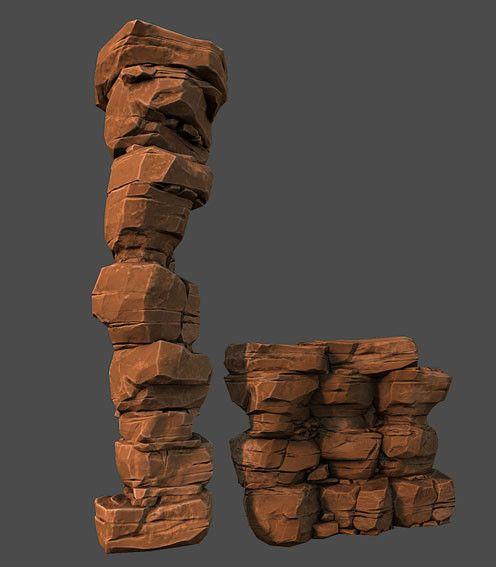 3d desert rock model