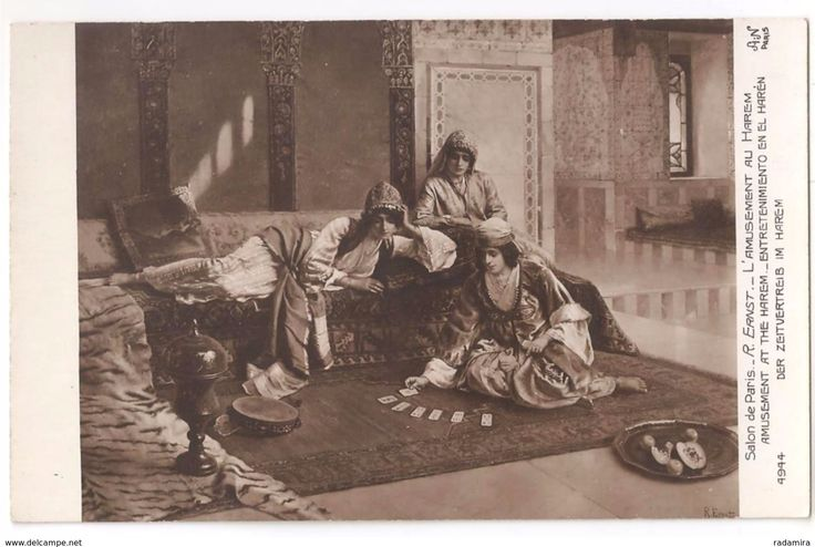 "Carte Postale Ancienne ""Der zeitvertreib im harem"" - Rodolphe ERNST - L'amusement au Harem - France."