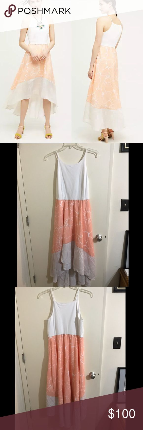 """Anthropologie Hutch Peachy Dress NWT, never worn. purchased online. Imo, White material at neckline could use a wash before wearing, but it was delivered to me from store like that. No stains and easy fix. Just didn't ever wear it so I didn't get it done myself. Beautiful for Spring. Bust 19"""", waist 18"""", length 53.5"""". Hi-Low hemline style. White material stretches on top and waist. Anthropologie Dresses"""