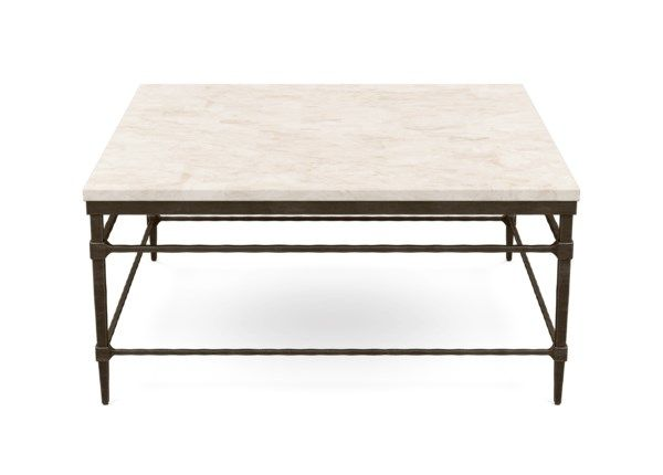 Vida Square Stone Top Coffee Table Coffee Table Metal Base