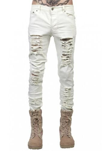 3ff95426966 Mens Denim Patches beggar Jeans Straight Leg Ripped Hole Pants Trousers  Retro Casual Hole Skinny Black
